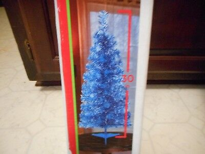"30"" Blue Christmas Tree W/ Base Tinsel Tabletop New"