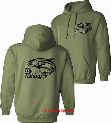 Fly Fishing Trout Hunter Salmon fishing HOODIES OLIVE Green S-XXL