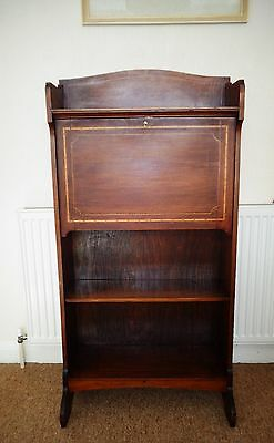 Antique Edwardian Hall Bureau Desk Bookcase Shoe Cupboard Slim Narrow Wooden Key