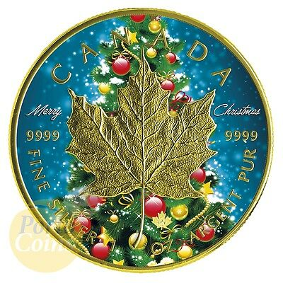 2016 Canada 1 OZ Silver $5 Maple Leaf Christmas colorized & gold gilded Coin NEW