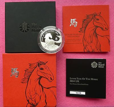 2014 Royal Mint Lunar Year Of The Horse Silver Proof Two Pound £2 Box + Coa