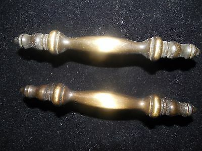 Pair Of Antique Finish Brass Furniture Hardware Drawer Pulls Made In Usa