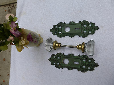 Cast Iron FUNCTIONAL door plates VINTAGE 8 PT crystal glass knobs set