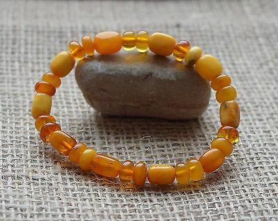 9 gr. Genuine natural round beads baltic amber bracelet egg yolk butterscotch