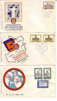 Rotary International  Argentina 1979 Lot Of Three Cacheted Covers