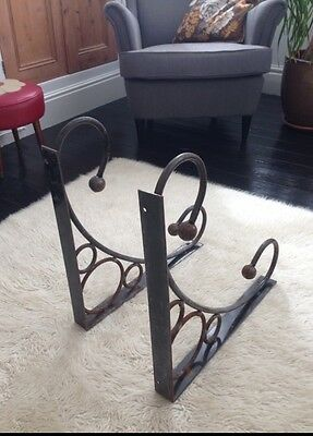 2 Huge Original Edwardian Metal Wall Brackets Reclaimed Industrial Shelf, Desk.