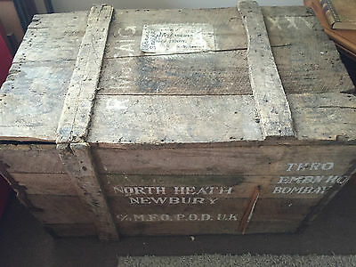 Officers Vintage Wooden Military Chest Rustic Storage Marked Hq Bombay Army