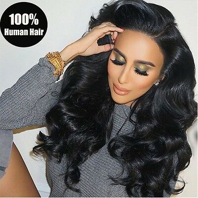 Real Brazilian Virgin Human Hair Full Lace Wig Black Women With Baby Hair Black