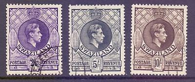 Swaziland 1933 SG36-8 2s6d-10s High Values Fine Used Cat £33