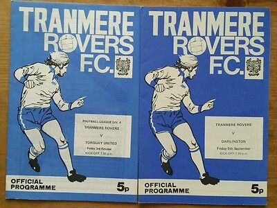 2 x Tranmere Rovers 1975/1976 Division 4 Programmes Torquay United Darlington 75