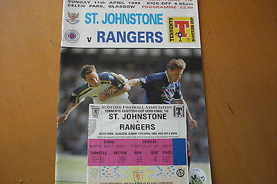 St (Saint) Johnstone V Rangers    Scots Cup Semi Final + Used Ticket     11/4/99