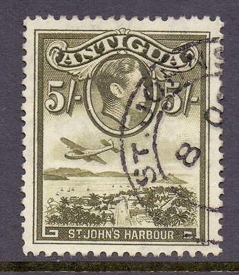 ANTIGUA 1938-51 KGVI SG107 5s Olive Green Fine Used Cat £15