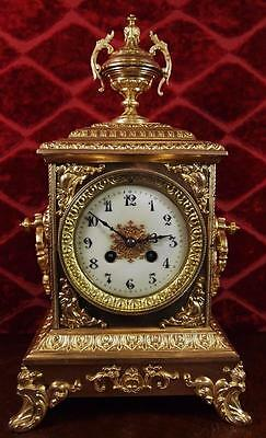 Very nice antique French Japy freres gilt brass 8 day bell striking mantel clock