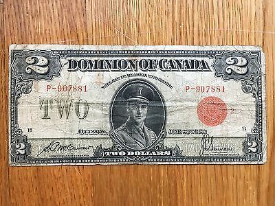 1923 Dominion Of Canada Two $2 Dollar Bank Note