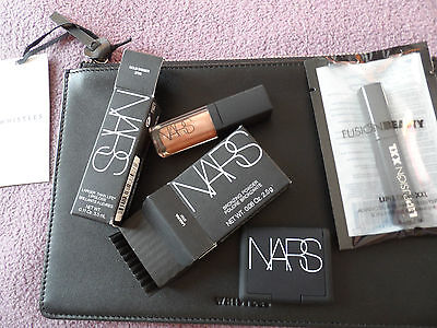 Bn Whistles Black Leather Clutch Nars Lipgloss Bronzing Powder Fusion Beauty