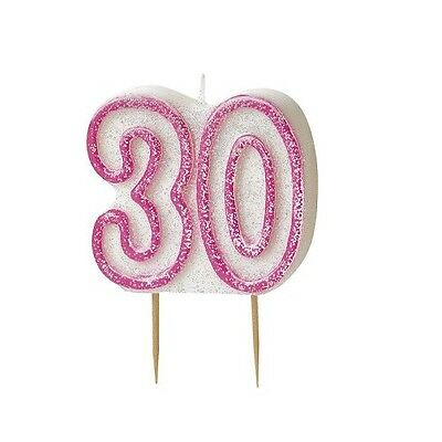 Pink Glitz Number 30 Candle 30th Birthday Cake Candles Party Decorations