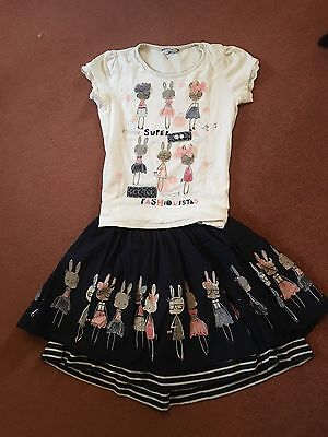 Bunny Rabbit Outfit Navy Skirt And Cream T Shirt Aged 10-11 Years