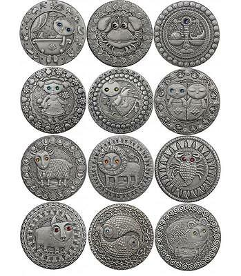 Belarus 2009 12x 20 Rubles Zodiac Sings 12x 28,28g Silver Coin Set with Zircons