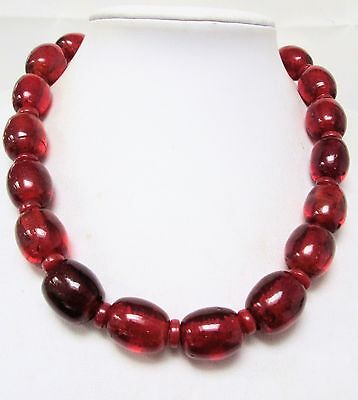 Stunning large vintage cherry amber glass bead necklace
