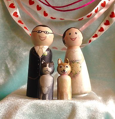 Wedding Cake Toppers Wooden Peg Dolls X2 PERSONALISED Bride & Groom/Centrepiece