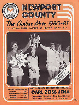 Very Rare Newport County v FC Carl Zeiss Jena - Deutschland 1981 Cup Winners Cup