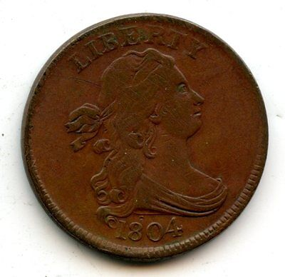 1804 Draped Bust Half Cent Crosslet 4 Stems Extra Fine Obv Scratches  *hucky*