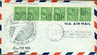 AM 44: 1940 FIRST FLIGHT Stratoliner Cover:  New York - Pittsburgh, Prexies