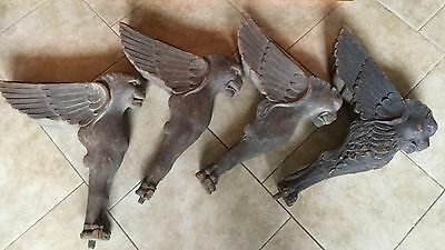 Antique Architectural Salvage Winged Griffin Corbels, lot of 4