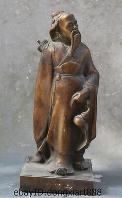 "11"" Old Chinese Bronze Ancient Medical scientist Li Shizhen Medical Sage Statue"