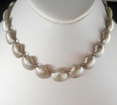 Vintage BIRKS of CANADA Solid Sterling Silver Sea Shell Necklace 6n60