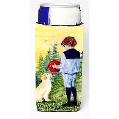 Little Boy With His Golden Retriever Michelob Ultra bottle sleeves For Slim C...