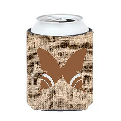 Carolines Treasures Butterfly Burlap And Brown Can Or Bottle Hugger