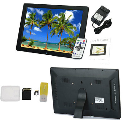 """New 15"""" LED Black HD High Resolution Digital Picture Photo Frame + 8GB TF Card"""