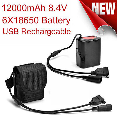 Rechargeable 8.4V USB 12000mAh 6X18650 Battery Pack For Bicycle LAMP Bike Torch