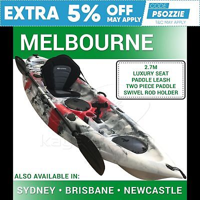2.7M Fishing Kayak Sit on Top Single Canoe Seat Paddle Melbourne Red Grey New