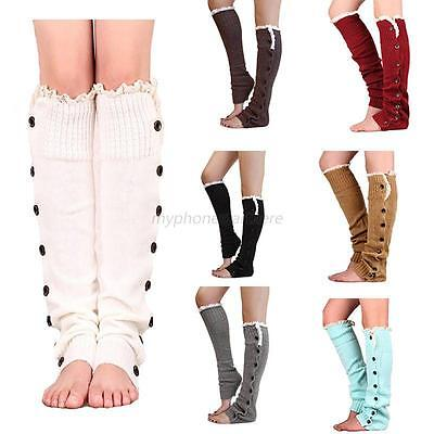 Fashion Women Socks Crochet Knit With Button Leg Warmers Lace Trim Cuffs Boot