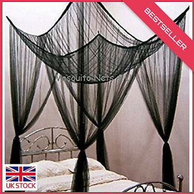 4 Corner Poster Black Bed Canopy Mosquito Net Double & King Size