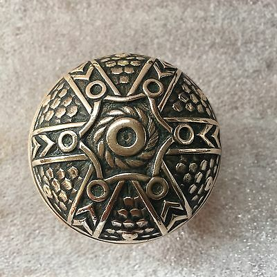 Antique Victorian Sixfold Norwalk Vernacular Brass DoorKnob Nice Floral Design B