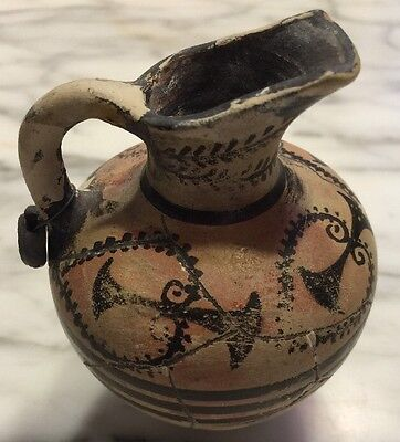 Herakalion Museum Copy 1500 Bc Greek Vessel Signed With Tag Striped Urn