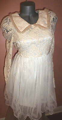 A'reve $69.50 Cream Tulle & Lace Dress Sz-Large Nwt