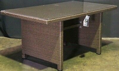 New in Box Shelter Outdoor Wicker PE Dining Table Glass Top 145 x 85cm