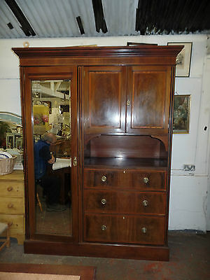 20th Century Mahogany Combination Wardrobe