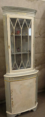 20th Century Corner Cupboard / Display Cabinet Painted Shabby Chic Style