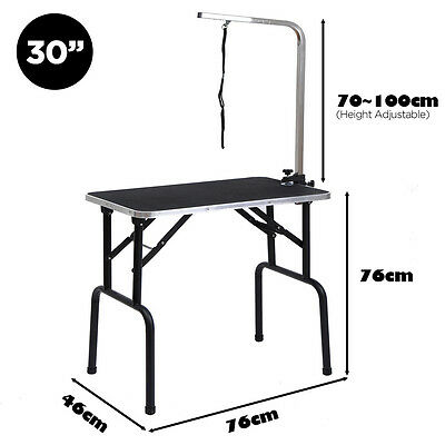 "BTM 30"" Portable Folding Dog Pet Bath Grooming Table With Arm Noose Black"