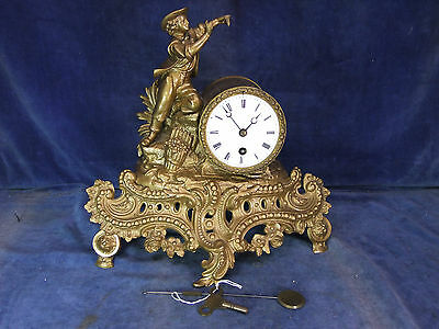 Vintage Gilt Spelter Mantle Clock c.1900 [8049]