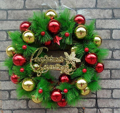 14inch Red And Gold Reindeer Theme Christmas Wreath Xms Decorations