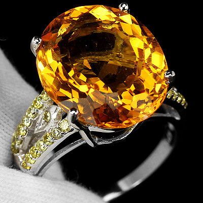 Magnificent 9.20 Ct. Yellow Citrine Oval Sterling 925 Silver Ring Sz 6.50 Us.