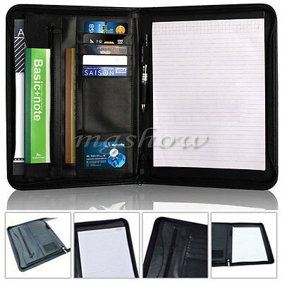 A4 Conference Folder Zipped Folio Case Leather Business Portfolio Organiser UK