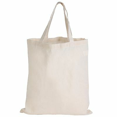Bulk Lot - 50 Short Double Handle Calico Bags fast Delivery Australia Wide