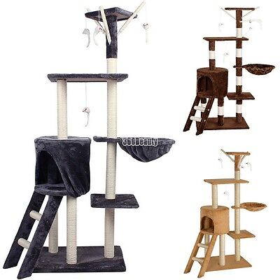 Pet Cat Kitten Play Furniture Climbing Tree Tower Scratching Post Bed House